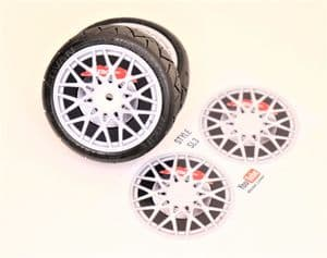 4pcs Realistic Alloy Wheel design stickers to fit Revlite etc 1/10 RC Model Touring car rims SL3