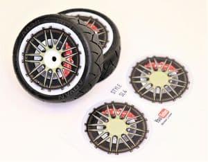 4pcs Realistic Alloy Wheel design stickers to fit Revlite etc 1/10 RC Model Touring car rims SL4