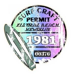 Aged Surf Craft Permit Fistral Beach Newquay 1981 Surfing Design Vinyl Car sticker decal  90x95mm