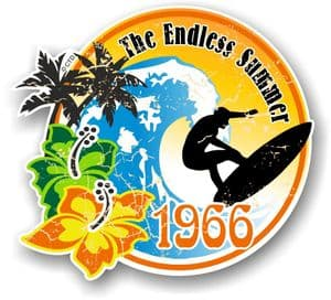 Aged The Endless Summer 1966 Dated Surfing Surfer Design Vinyl Car sticker decal 100x90mm
