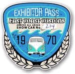Aged Vintage 1970 Dated Car Show Exhibitor Pass Design Vinyl Car sticker decal  89x87mm