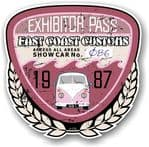 Aged Vintage 1987 Dated Car Show Exhibitor Pass Design Vinyl Car sticker decal  89x87mm