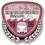 Aged Vintage 1989 Dated Car Show Exhibitor Pass Design Vinyl Car sticker decal  89x87mm