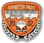 Aged Vintage 2002 Dated Car Show Exhibitor Pass Design Vinyl Car sticker decal  89x87mm