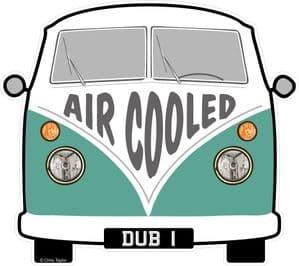 AIR COOLED Slogan For Retro SPLIT SCREEN VW Camper Van Bus Design External Vinyl Car Sticker 90x80mm