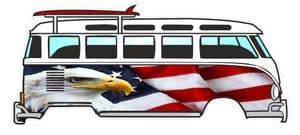 American Bald Eagle & US Flag Design for Retro VW Split Screen Camper Van Bus Graphic External Vinyl Car Sticker 120x50mm
