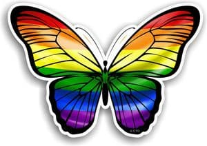 Beautiful Butterfly With Gay Pride LGBT Rainbow Flag Vinyl Car Sticker 130x90mm