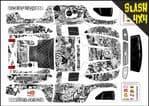 Black & White Stickerbomb themed vinyl SKIN Kit To Fit Traxxas Slash 4x4 Short Course Truck