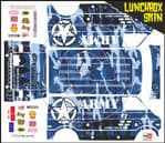 BLUE Army Camo themed vinyl SKIN Kit & Stickers To Fit Tamiya Lunchbox R/C Monster Truck