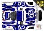 Blue Gothic Skullz themed vinyl SKIN Kit To Fit Traxxas Slash 4x4 Short Course Truck
