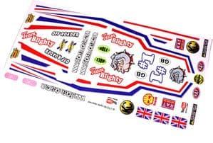 British Bulldog UK Flag themed vinyl stickers to fit R/C Tamiya Grasshopper