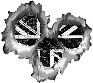 Bullet Hole Torn Metal 3 Shots With B&W Grunge Union Jack British Flag Car Sticker 95x85mm