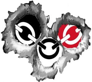 Bullet Hole Torn Metal 3 Shots With Black Country Flag West Midlands Car Sticker 95x85mm