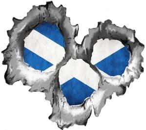 Bullet Hole Torn Metal 3 Shots With Scotland Scottish Saltire Flag Car Sticker 95x85mm