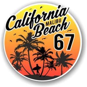 California Malibu Beach 1967 Surfer Surfing Design Vinyl Car Sticker Decal  95x95mm