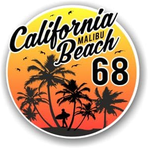 California Malibu Beach 1968 Surfer Surfing Design Vinyl Car Sticker Decal  95x95mm