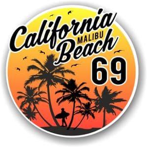 California Malibu Beach 1969 Surfer Surfing Design Vinyl Car Sticker Decal  95x95mm