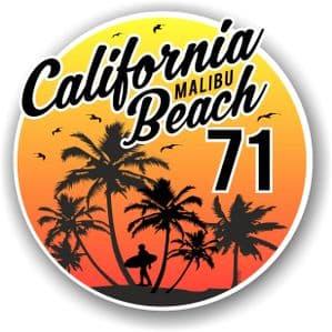 California Malibu Beach 1971 Surfer Surfing Design Vinyl Car Sticker Decal  95x95mm