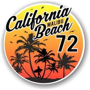 California Malibu Beach 1972 Surfer Surfing Design Vinyl Car Sticker Decal  95x95mm