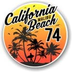 California Malibu Beach 1974 Surfer Surfing Design Vinyl Car Sticker Decal  95x95mm