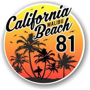 California Malibu Beach 1981 Surfer Surfing Design Vinyl Car Sticker Decal  95x95mm