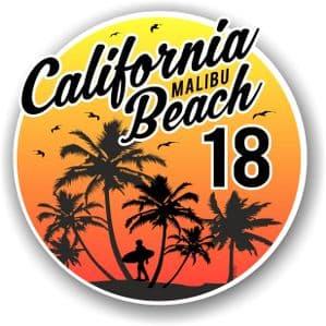 California Malibu Beach 2018 Surfer Surfing Design Vinyl Car Sticker Decal  95x95mm