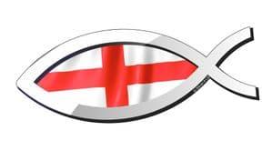 Christian Fish Symbol Ichthys Icthus With England English Flag Car Sticker Decal 150x60mm