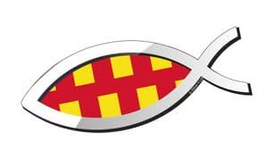 Christian Fish Symbol Ichthys Icthus With Northumberland County Flag Car Sticker Decal 150x60mm