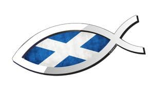 Christian Fish Symbol Ichthys Icthus With Scotland Scottish Saltire Flag Car Sticker Decal 150x60mm