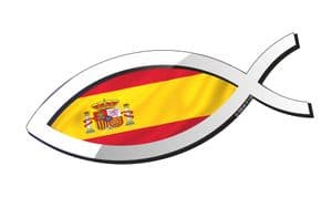 Christian Fish Symbol Ichthys Icthus With Spain Spanish Flag Car Sticker Decal 150x60mm