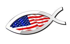 Christian Fish Symbol Ichthys Icthus With USA American Flag Car Sticker Decal 150x60mm