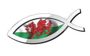 Christian Fish Symbol Ichthys Icthus With Wales Welsh CYMRU Flag Car Sticker Decal 150x60mm