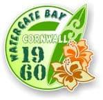 Cornwall Watergate Bay 1960 Surfer Surfing Design Vinyl Car sticker decal 97x95mm