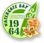 Cornwall Watergate Bay 1964 Surfer Surfing Design Vinyl Car sticker decal 97x95mm