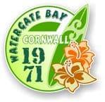 Cornwall Watergate Bay 1971 Surfer Surfing Design Vinyl Car sticker decal 97x95mm
