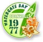 Cornwall Watergate Bay 1977 Surfer Surfing Design Vinyl Car sticker decal 97x95mm