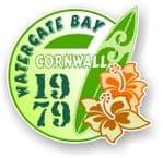 Cornwall Watergate Bay 1979 Surfer Surfing Design Vinyl Car sticker decal 97x95mm