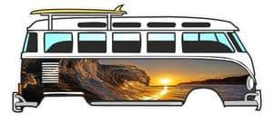 Crest Of The Wave Surfer Design for Retro VW Split Screen Camper Van Bus Graphic External Vinyl Car Sticker 120x50mm