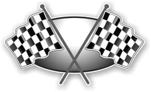 Crossed Flags Design with B&W Chequered Flag Vinyl Car Sticker Decal 90x52mm