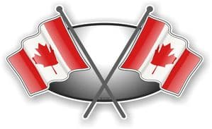 Crossed Flags Design with Canada Canadian Flag Vinyl Car Sticker Decal 90x52mm