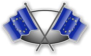 Crossed Flags Design with EU European Union Flag Vinyl Car Sticker Decal 90x52mm