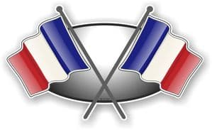 Crossed Flags Design with France French Flag Vinyl Car Sticker Decal 90x52mm