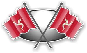 Crossed Flags Design with Isle Of Man Flag Vinyl Car Sticker Decal 90x52mm
