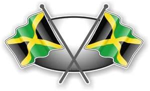 Crossed Flags Design with Jamaica Jamaican Flag Vinyl Car Sticker Decal 90x52mm