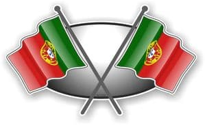 Crossed Flags Design with Portugal Portuguese Flag Vinyl Car Sticker Decal 90x52mm