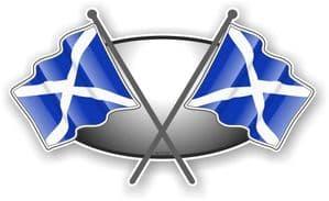 Crossed Flags Design with Scotland Scottish Saltire Flag Vinyl Car Sticker Decal 90x52mm