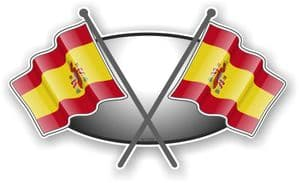 Crossed Flags Design with Spain Spanish Flag Vinyl Car Sticker Decal 90x52mm