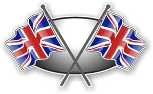 Crossed Flags Design with Union Jack British Flag Vinyl Car Sticker Decal 90x52mm