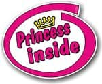 Cute Magenta Princess Inside Slogan With Retro Style Novelty Design Vinyl Car Sticker Decal 105x85mm