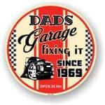 Dad's Garage Roundel Design Year Dated 1969 Vinyl Car Sticker Decal 95x95mm